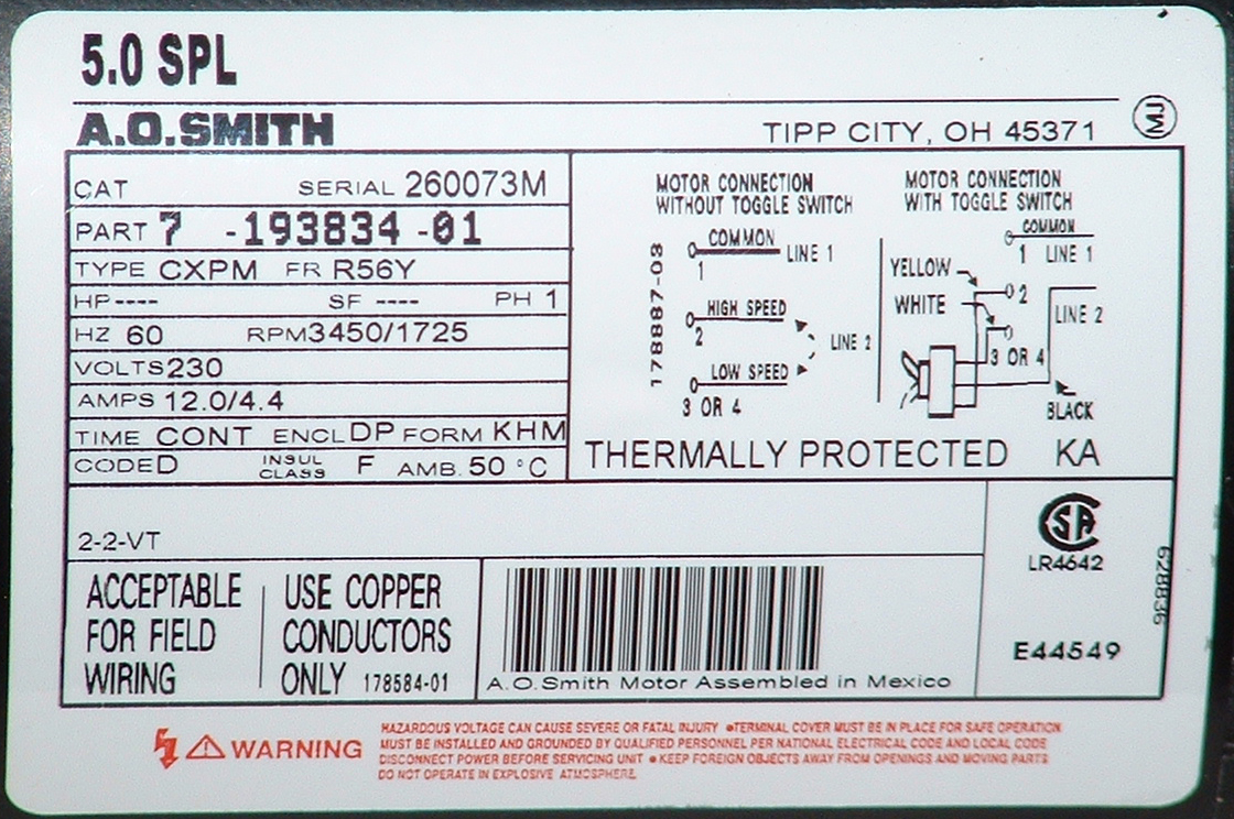 (b) - Electric motor manufacturer label showing proper electrical hookup to  this motor.